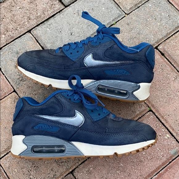 Nike Air Max 90 PRM Suede Women's Shoes Blue Suede